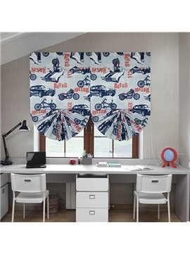 Retro Motorcycles and Car Print Custom Roman Shades