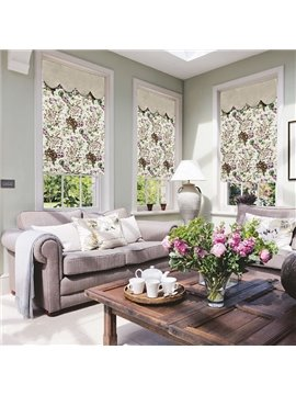 Country Watercolor Flowers Print Custom Roman Shades