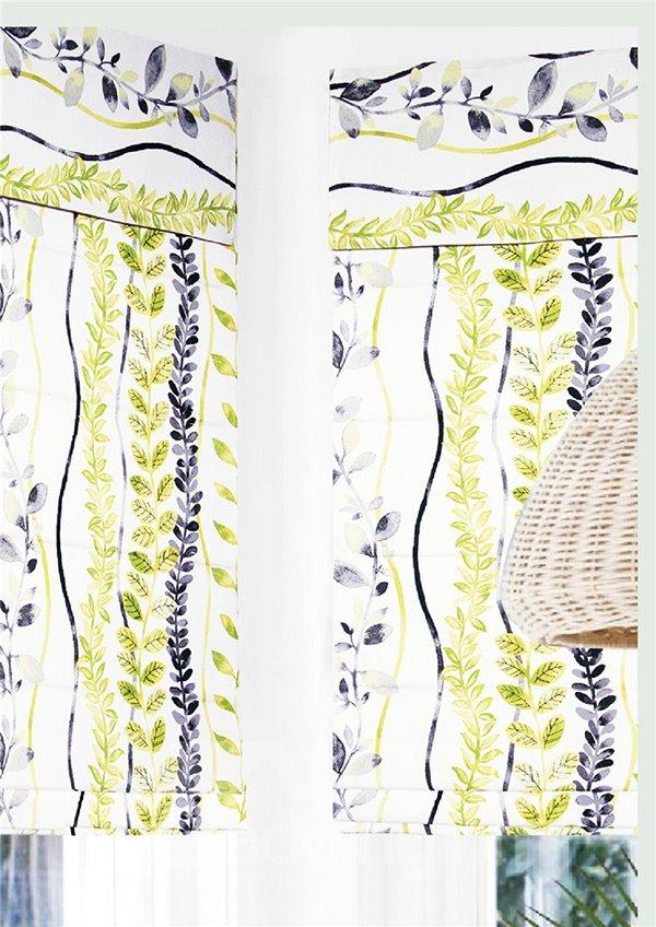 Black and Green Leaves Stripes Print Custom Roman Shades