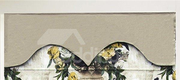 European Style Roses in Vase Print Custom Roman Shades