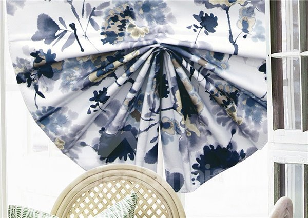 Abstract Ink Dragonfly around Flower Print Blending Roman Shades