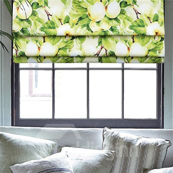 Realistic Oil Painting Green Apple Tree Print Roman Shades