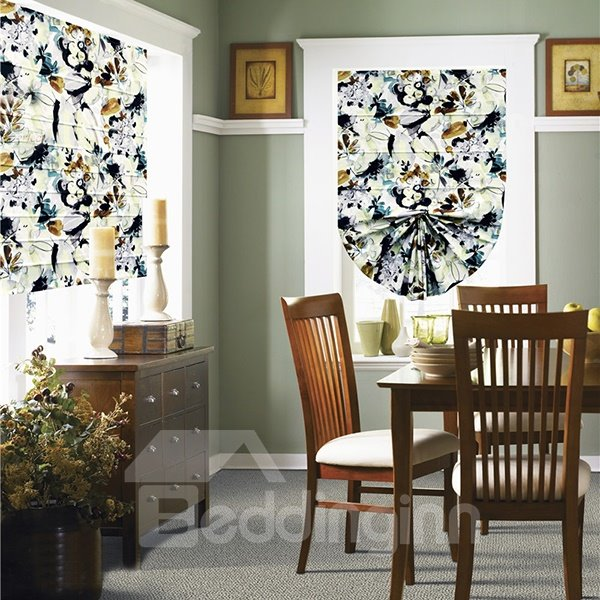 Country Style Watercolor Abstract Flower and Bird Print Roman Shades