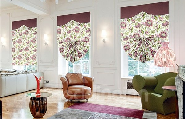 Cute Clip Art Flowers with Green Leaves Print Roman Shades