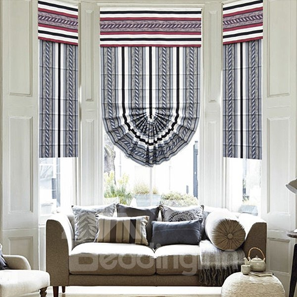 Concise Stripes Polyester Modern Roman Shades