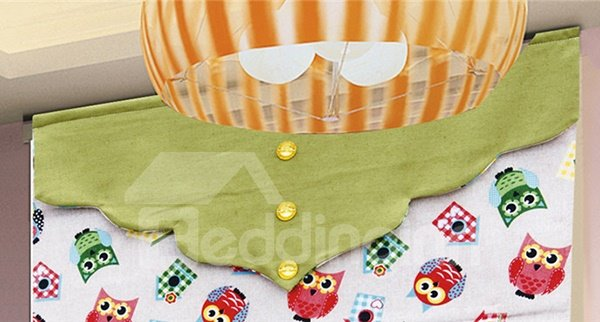 Colored Cartoon Owl Print Cotton and Polyester Blending Roman Shades