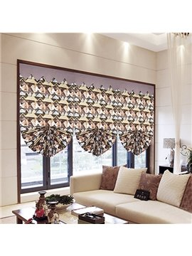Modern Decor Oil Painting Geometric Print Roman Shades