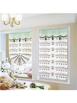Cute Cartoon Bird and Duck Print Roman Shades