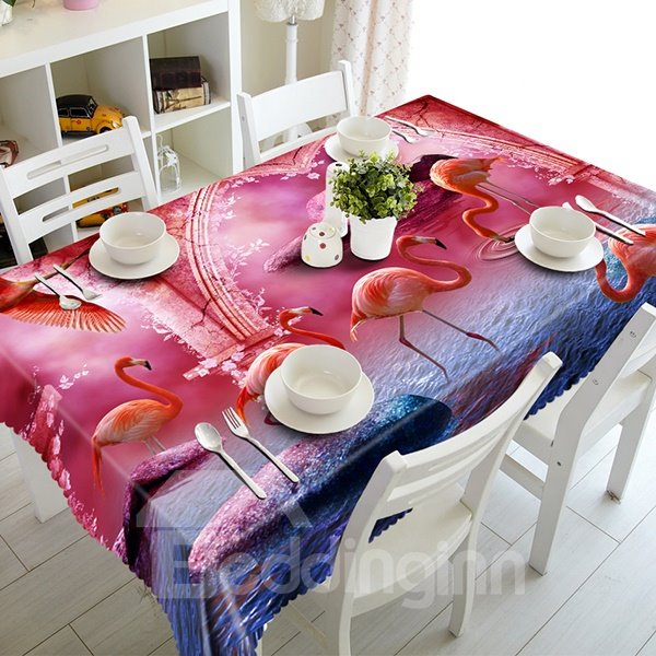 Gorgeous Polyester Flamingos Pattern 3D Tablecloth