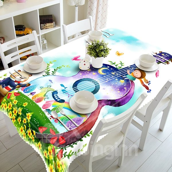 Floral Polyester Guitar Pattern 3D Tablecloth
