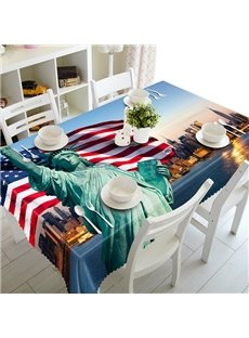 Fashion Polyester Statue of Liberty and National flag 3D Tablecloth