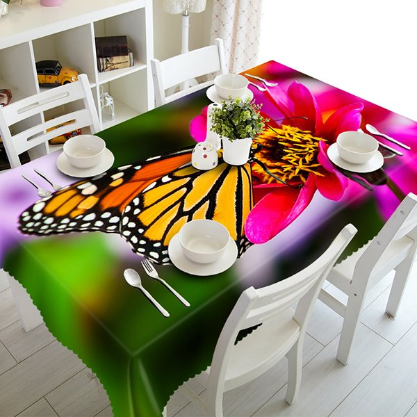 Popular Flower and Butterfly Pattern 3D Tablecloth