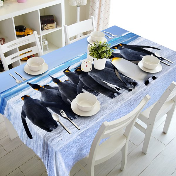 Very Cute Penguins Pattern 3D Tablecloth