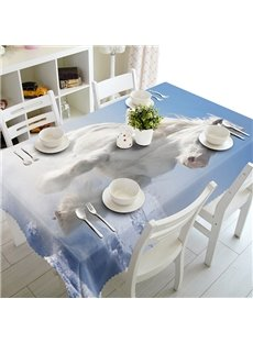 White Horse Pattern Polyester 3D Tablecloth