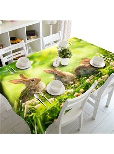 Green Cute Rabbits and Grassland Pattern 3D Tablecloth