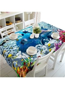 Modern Design Broken Wall and Dolphin Pattern 3D Tablecloth