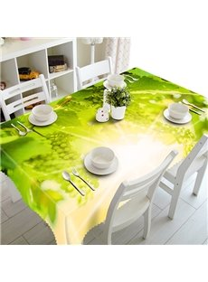 Green Grapevine and Sunlight Pattern 3D Tablecloth