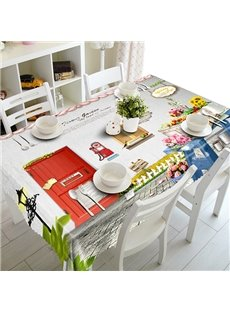 White House and Red Door Pattern 3D Tablecloth