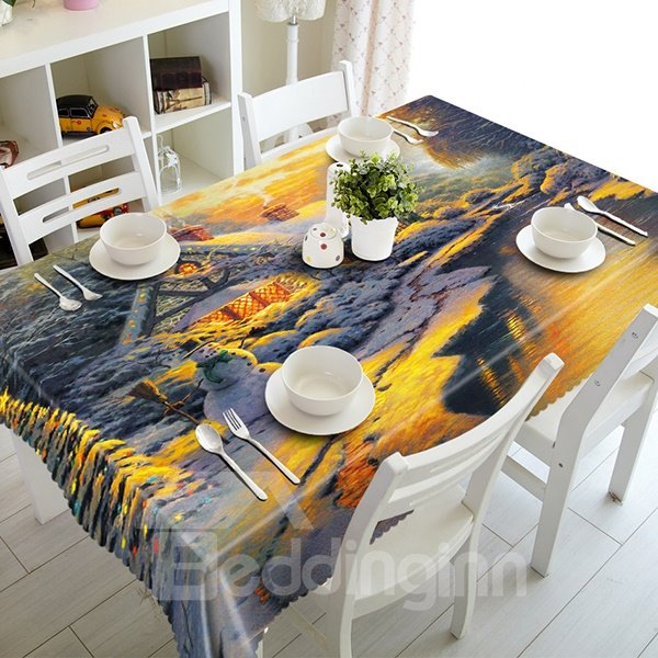 Snow River Scenery and Cabin Pattern 3D Tablecloth