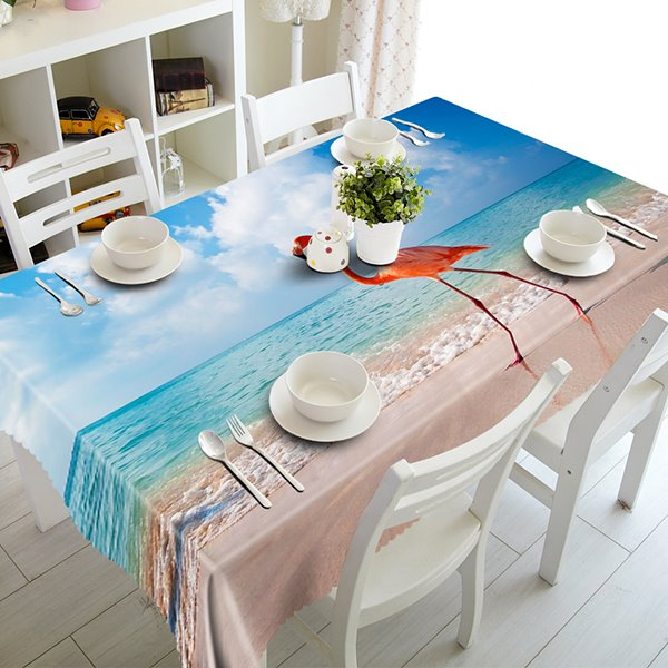 Blue Seaside and Flamingo Pattern 3D Tablecloth