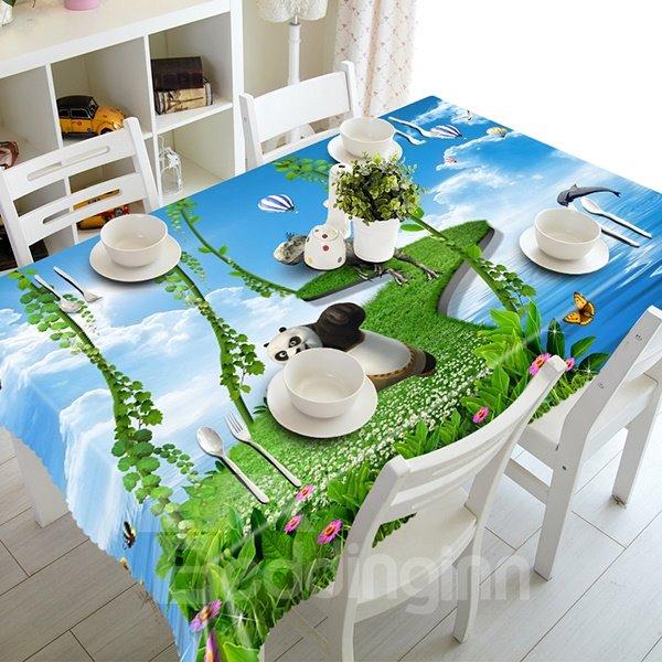 Cute Green Bridge and Running Panda 3D Tablecloth