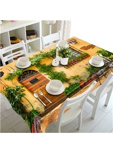 Mountain Cottage With Cirrus Pattern 3D Tablecloth