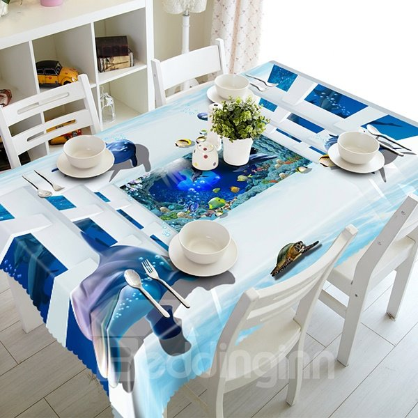 Aquarium Dolphin and Tortoise Pattern 3D Tablecloth