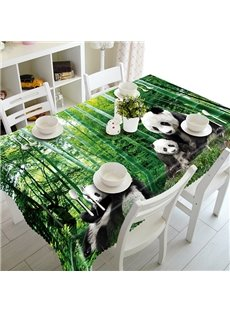 Green Bamboo Forest and Cute Panda Pattern Tablecloth