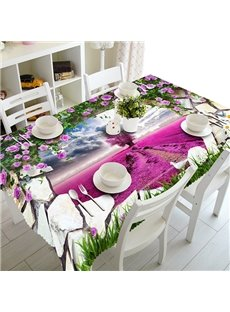Pink Stone Hole and Flower Field Pattern 3D Tablecloth