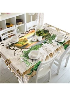 Creative Broken Hole and Beautiful Scenery Pattern 3D Tablecloth