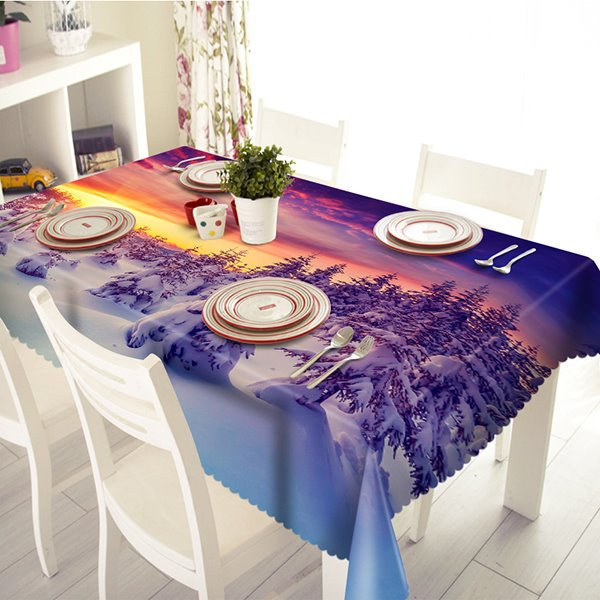 Beautiful Sunset Snow Forest Pattern 3D Tablecloth