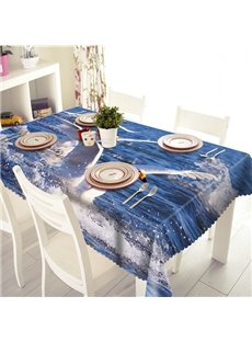 Cool Polyester Seawater and Mew Pattern 3D Tablecloth