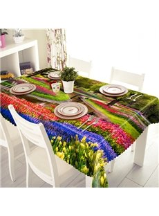 Beautiful Flower Garden Pattern 3D Tablecloth