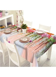 Colorful Flower and Curtain Pattern 3D Tablecloth