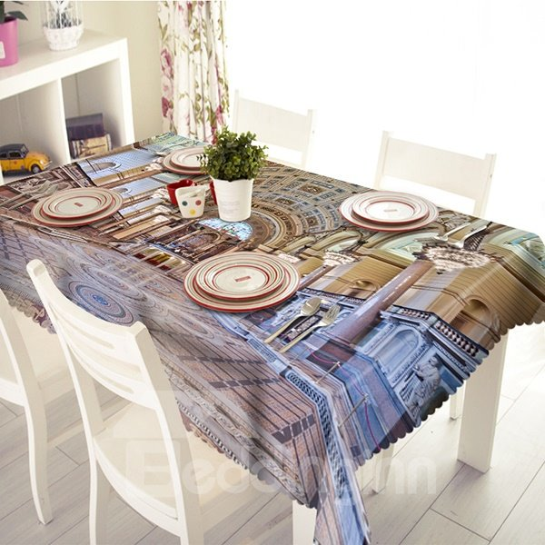 Splendent Polyester Palace Pattern 3D Tablecloth