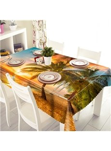Golden Sunset Seaside Coconut Tree Scenery 3D Tablecloth