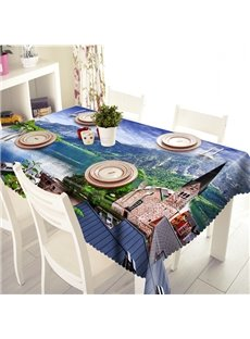 Ancient Building and Lake Scenery Pattern 3D Tablecloth