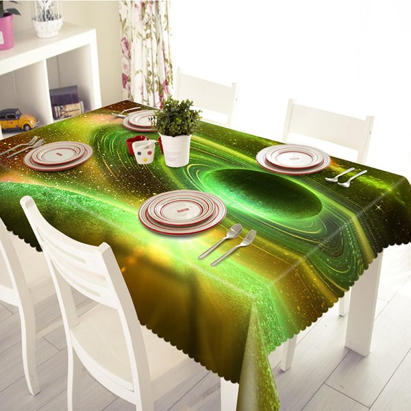Light Green Polyester Planet Pattern 3D Tablecloth