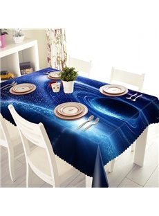 Dark Blue Polyester Planet Pattern 3D Tablecloth