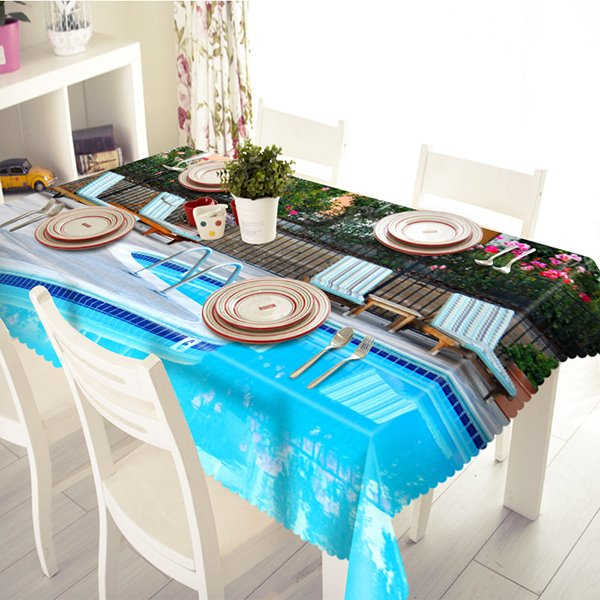 Blue Polyester Swimming Pool Pattern 3D Tablecloth