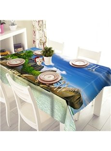 Creative Island On The Sea Scenery Pattern 3D Tablecloth
