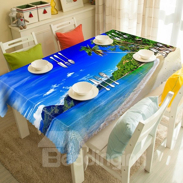 Blue Seaside and Coconut Tree pattern 3D Tablecloth