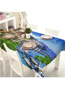 Blue Polyester Mediterranean Sea Style 3D Tablecloth