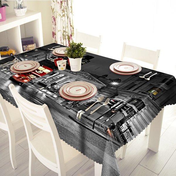 Black City Night Scenery Pattern 3D Tablecloth
