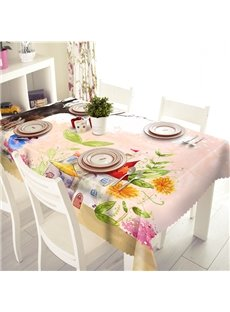 Cute Pink Flower Pattern Polyester 3D Tablecloth