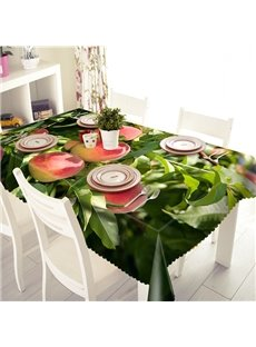 Vivid Peach Pattern Polyester 3D Tablecloth