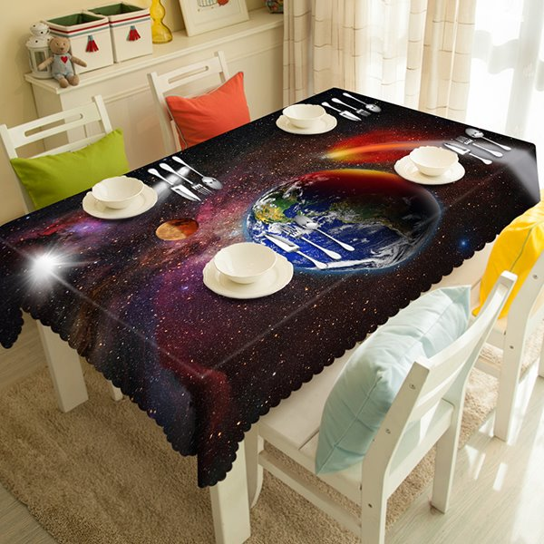 Science Fiction Planet and Earth Pattern 3D Tablecloth