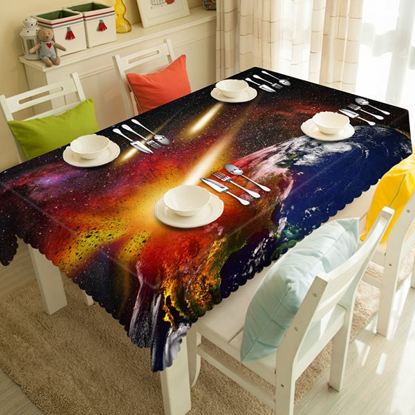 Creative Galaxy and Earth Surface Pattern 3D Tablecloth