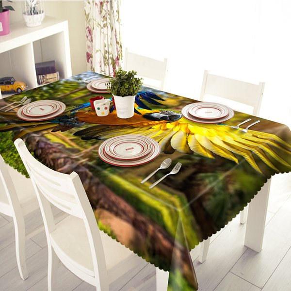 Amusing Polyester Parrot Pattern 3D Tablecloth