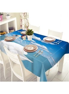 Blue Sky and White Swan Pattern 3D Tablecloth
